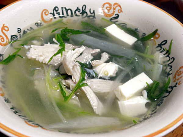 鶏肉と水菜のスープ